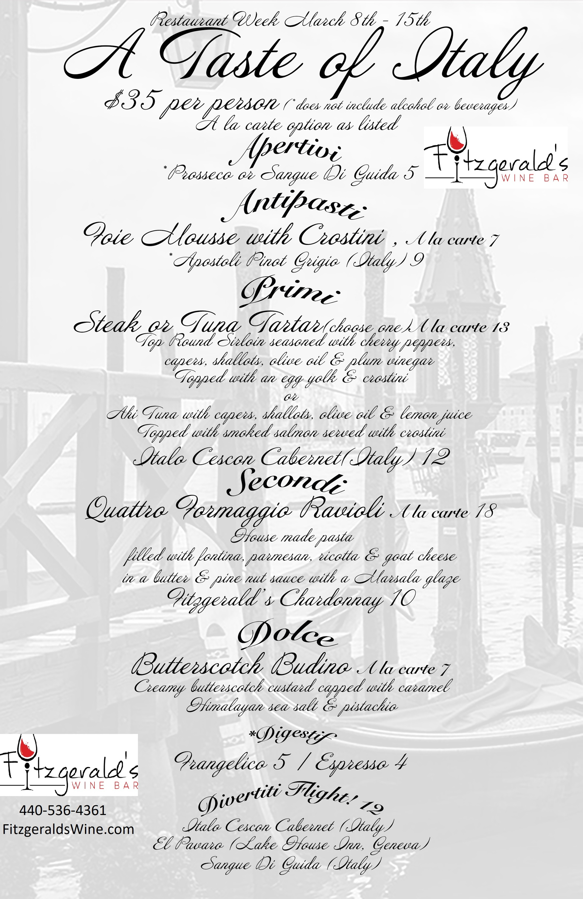 Restaurant Week Menu