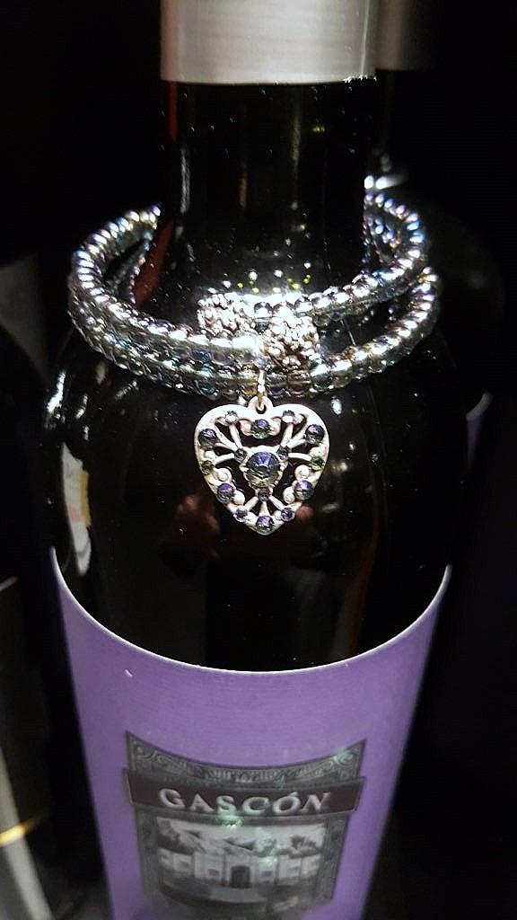 Crystal Heart Charm Wrap Bracelet